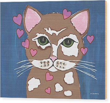 Loveable Cat Wood Print by Kathleen Sartoris