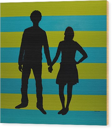 Lovebirds In Silhouette Wood Print by Ramey Guerra