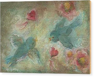 Lovebirds Wood Print by Mary Wolf