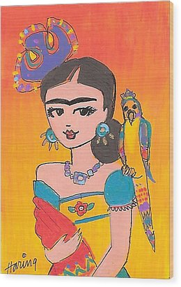 Lovely Frida And Her Parrot Wood Print by Karen Haring