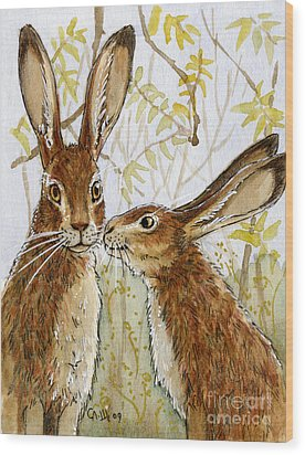 Lovely Rabbits - Little Kiss  Wood Print by Svetlana Ledneva-Schukina