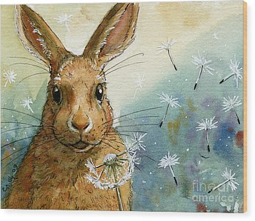 Lovely Rabbits - With Dandelions Wood Print by Svetlana Ledneva-Schukina