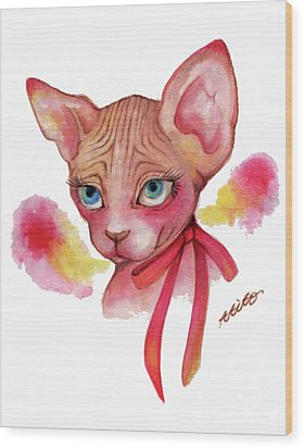 Lovely Sphynx Wood Print