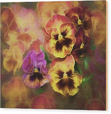 Lovely Spring Pansies Wood Print by Diane Schuster