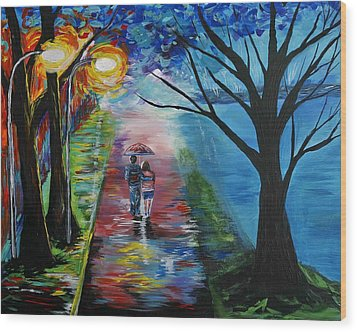 Lovely Stroll By The Lake Wood Print by Leslie Allen