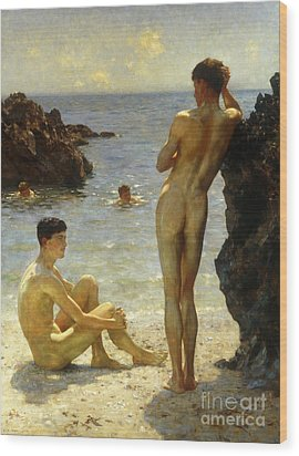 Lovers Of The Sun Wood Print by Henry Scott Tuke