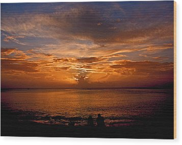 Lovers Sunset Wood Print by Martin Morehead