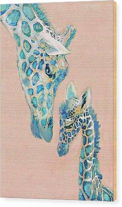 Loving Giraffes Family- Coral Wood Print by Jane Schnetlage