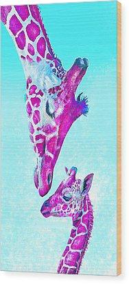 Loving Giraffes- Magenta Wood Print by Jane Schnetlage