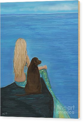 Wood Print featuring the painting Loving Lab Loyalty by Leslie Allen