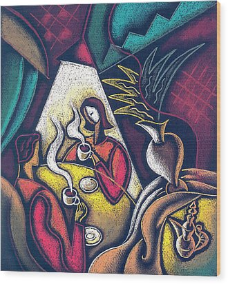Wood Print featuring the painting Loving Relationship by Leon Zernitsky