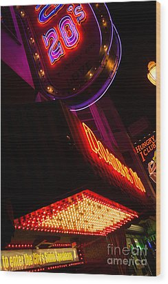 Wood Print featuring the photograph Low Angle Neon Signs At Night In North Beach San Francisco by Jason Rosette