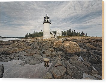 Low Angle View Of The Marshall Point Lighthouse Maine Wood Print by George Oze