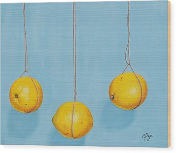Low Hanging Lemons Wood Print by Emily Page