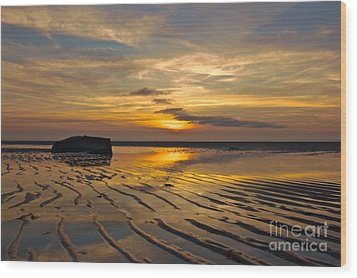 Low Tide At Mayflower Beach Wood Print by Amazing Jules