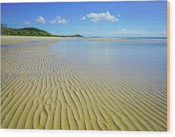 Low Tide Beach Ripples Wood Print