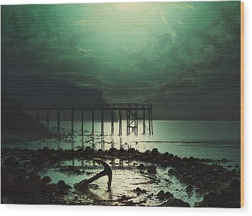 Low Tide By Moonlight Wood Print by WHJ Boot