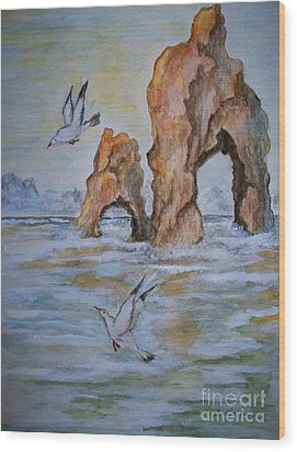 Wood Print featuring the painting Low Tide by Carol Grimes