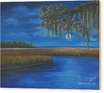 Lowcountry Moon Wood Print by Stanton Allaben