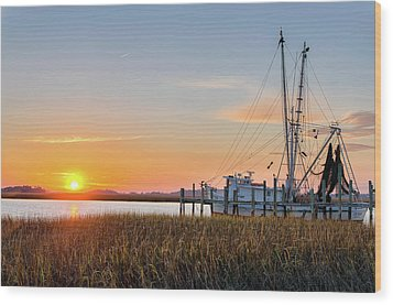 Lowcountry Sunset Wood Print by Drew Castelhano