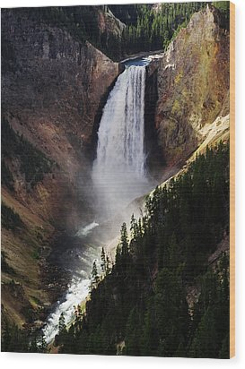 Lower Falls At Yellowstone Wood Print