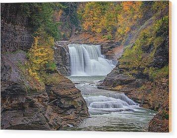 Lower Falls In Autumn Wood Print by Rick Berk