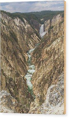 Lower Falls Of The Yellowstone - Portrait Wood Print