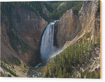 Wood Print featuring the photograph Lower Falls Of Yellowstone River by Roger Mullenhour