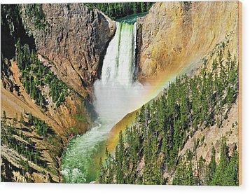 Lower Falls Rainbow Wood Print