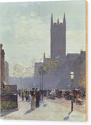 Lower Fifth Avenue Wood Print by Childe Hassam