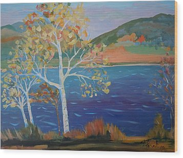 Wood Print featuring the painting Lower Hadley Pond by Francine Frank