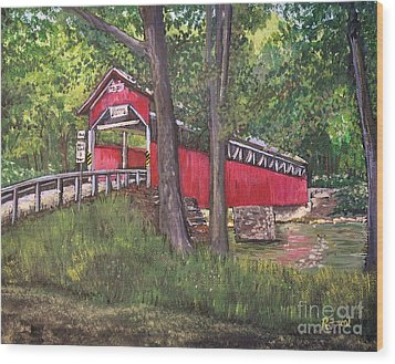Lower Humbert Covered Bridge  Wood Print by Reb Frost