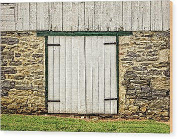 Wood Print featuring the photograph Lower Level Door To An 1803 Amish Corn Barn  -  1803cornbarn172868 by Frank J Benz