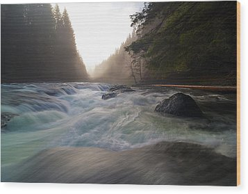 Lower Lewis River Falls During Sunset Wood Print by David Gn