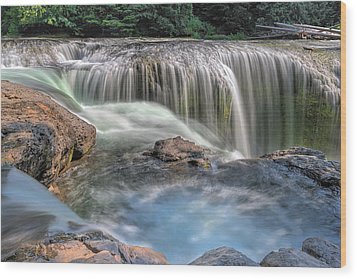 Lower Lewis River Falls Rush Wood Print by David Gn