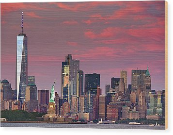 Wood Print featuring the photograph Lower Manhattan In Pink by Emmanuel Panagiotakis
