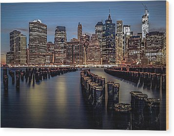 Lower Manhattan Skyline Wood Print by Eduard Moldoveanu
