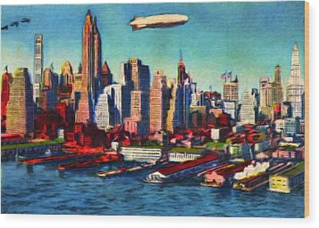 Lower Manhattan Skyline New York City Wood Print by Vincent Monozlay