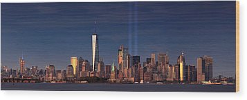 Wood Print featuring the photograph Lower Manhattantribute In Light by Emmanuel Panagiotakis
