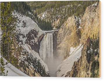 Wood Print featuring the photograph Lower Yellowstone Falls In Winter by Yeates Photography