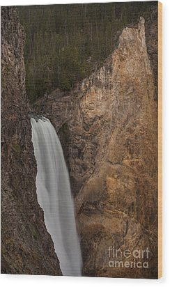 Lower Yellowstone Waterall Wood Print