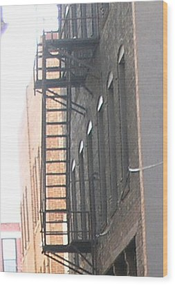 Lowertown Fire Escape Wood Print by Janis Beauchamp