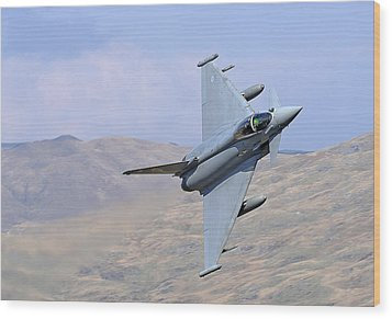 Lowflying Typhoon In The Welsh Hills 01 Wood Print by Barry Culling