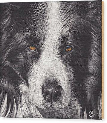 Wood Print featuring the mixed media Loyal Companion by Elena Kolotusha
