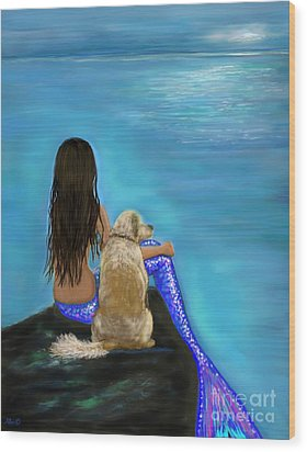 Wood Print featuring the painting Loyal Loving Buddy by Leslie Allen