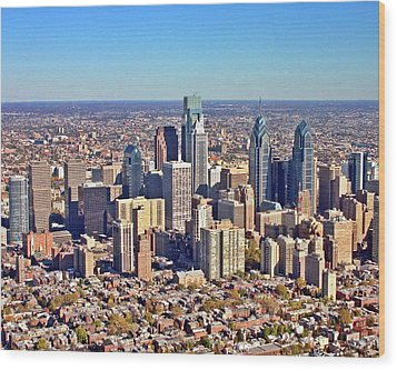 Wood Print featuring the photograph Lrg Format Aerial Philadelphia Skyline 226 W Rittenhouse Sq 100 Philadelphia Pa 19103 5738 by Duncan Pearson
