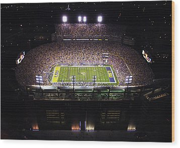 Lsu Aerial View Of Tiger Stadium Wood Print by Louisiana State University