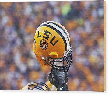 Lsu Helmet Raised High Wood Print by Louisiana State University