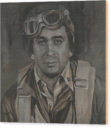 Lt Commandor Joe Gibson Wood Print by Linda Eades Blackburn