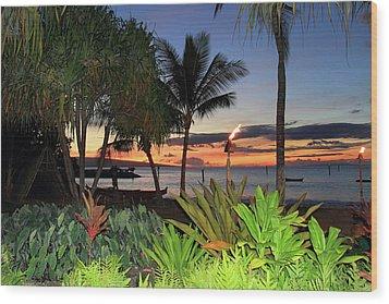 Luau Sunset Maui Wood Print by Pierre Leclerc Photography